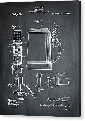 Beer Stein Patent 1914 In Chalk Canvas Print by Digital Reproductions