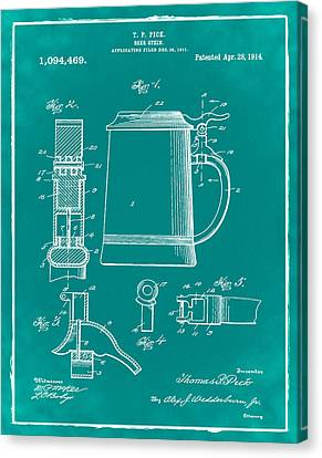 Beer Stein Patent 1914 In Green Canvas Print by Bill Cannon