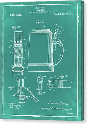 Beer Stein Patent 1914 In Green Canvas Print by Digital Reproductions