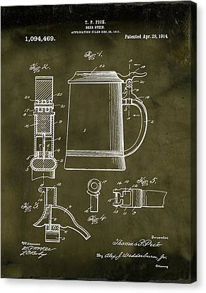 Beer Stein Patent 1914 In Grunge Canvas Print by Bill Cannon