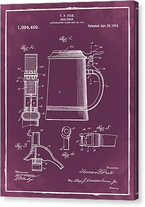 Beer Stein Patent 1914 In Red Canvas Print by Bill Cannon