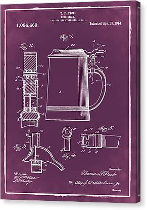 Beer Stein Patent 1914 In Red Canvas Print by Digital Reproductions