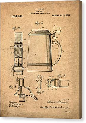 Beer Stein Patent 1914 In Sepia Canvas Print by Bill Cannon