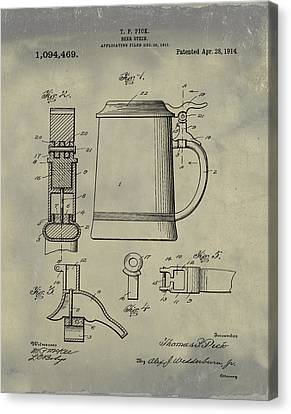 Beer Stein Patent 1914 In Weathered Canvas Print by Bill Cannon