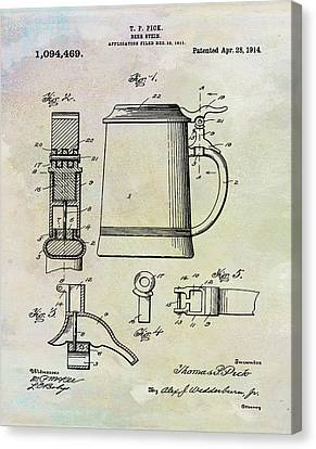 Beer Stein Patent 1914 In Weathered Canvas Print by Digital Reproductions