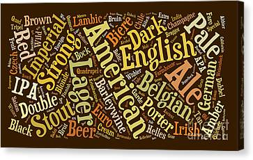 Beer Word Cloud Canvas Print by Edward Fielding