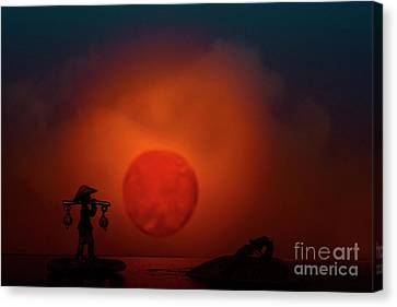 Begining Of The Day Canvas Print by Kiran Joshi