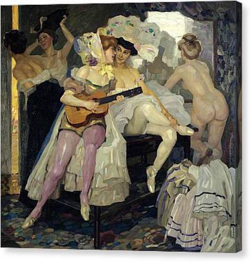 Behind The Scenes Canvas Print by Leo Putz