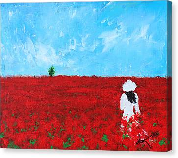 Being A Woman - #4 In A Field Of Poppies Canvas Print by Kume Bryant