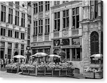 Belgian Lunch In The Square Canvas Print by Georgia Fowler