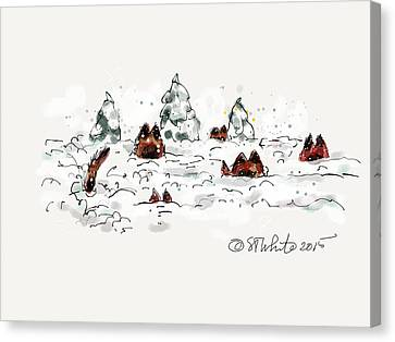 Belgians In Snow Canvas Print by Little Dove  Doodles