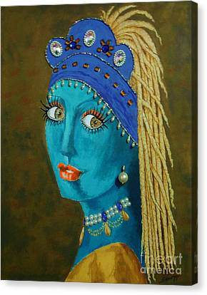 Belly Dancer With A Pearl Earring -- The Original -- Whimsical Redo Of Vermeer Painting Canvas Print by Jayne Somogy