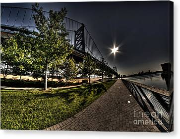Ben Franklin Bridge Surreal Sunrise Canvas Print by Mark Ayzenberg