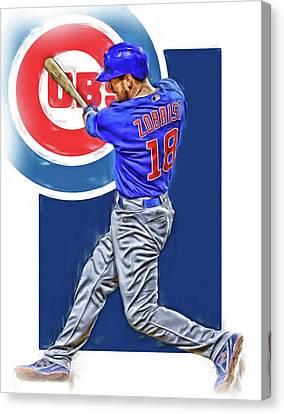Ben Zobrist Chicago Cubs Oil Art Canvas Print by Joe Hamilton