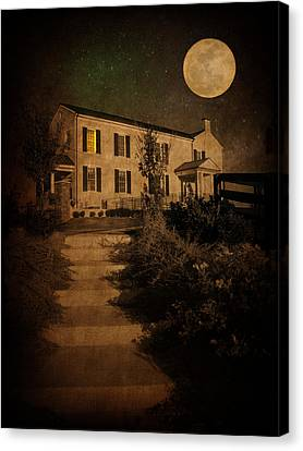 Beneath The Perigree Moon Canvas Print by Amy Tyler