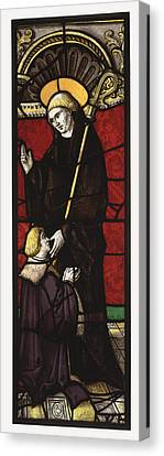 Benedictine Abbot Saint With A Donor Canvas Print by Celestial Images