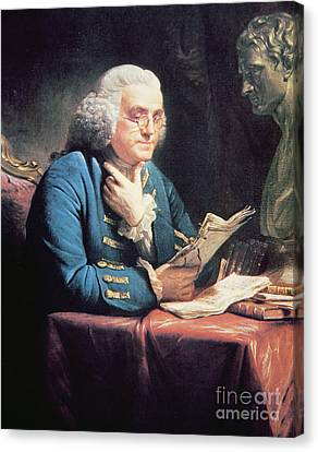 Benjamin Franklin Canvas Print by American School