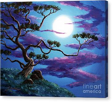 Bent Pine Tree At Moonrise Canvas Print by Laura Iverson