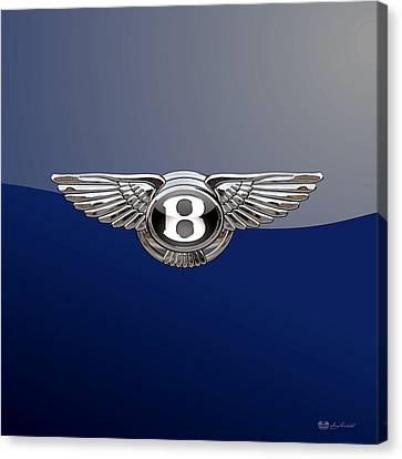 Bentley 3 D Badge Special Edition On Blue Canvas Print by Serge Averbukh