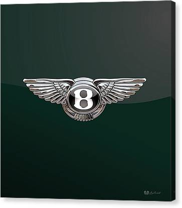 Bentley 3 D Badge Special Edition On Bottle Green Canvas Print by Serge Averbukh