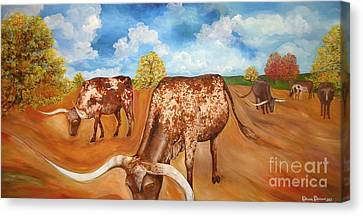 Benton Hwy 165 Longhorns  Canvas Print by Rebecca Robinson