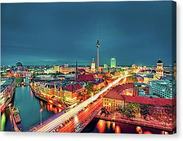Berlin City At Night Canvas Print by Matthias Haker Photography