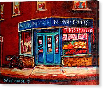 Bernard Fruit And Broomstore Canvas Print by Carole Spandau