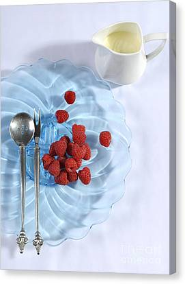 Berries And Cream Dessert Place Setting With Blue Vintage Art De Canvas Print by Milleflore Images
