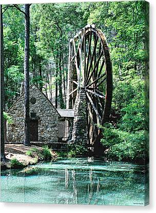Berry' Old Mill In Pencil Canvas Print by Johann Todesengel