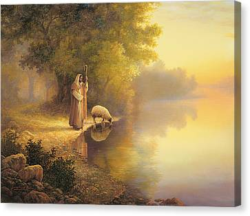 Beside Still Waters Canvas Print by Greg Olsen