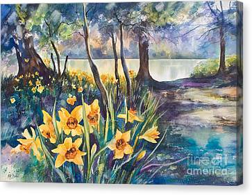 Beside The Lake Beneath The Trees. Canvas Print by Kate Bedell