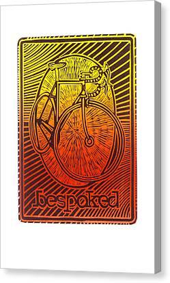 Bespoked Bicycle Linocut Canvas Print by Mark Howard Jones