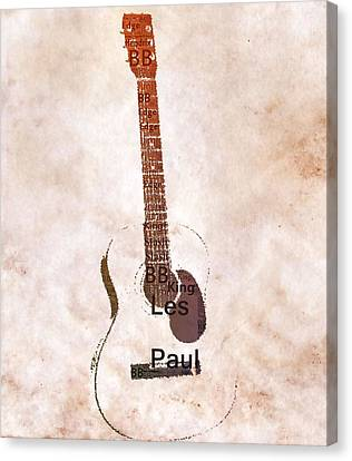 Best Guitarists Typography Warm Canvas Print by Dan Sproul
