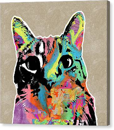 Best Listener Kitty- Pop Art By Linda Woods Canvas Print by Linda Woods