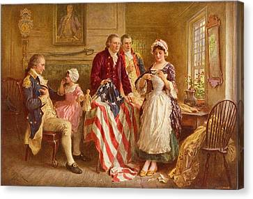 Betsy Ross 1777 Canvas Print by Jean Leon Gerome Ferris