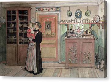 Between Christmas And New Year Canvas Print by Carl Larsson