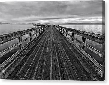 Bevan Fishing Pier - Black And White Canvas Print by Mark Kiver