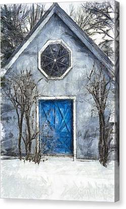 Beyond The Blue Door Pencil Canvas Print by Edward Fielding