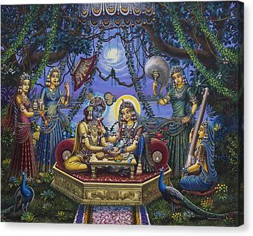 Bhojan Lila Radha Krishna Canvas Print by Vrindavan Das