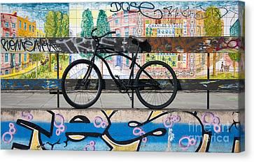 Bicycle Graffiti Canvas Print by Christos Koudellaris