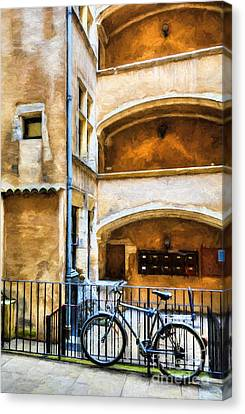 Bicycle In Old Town Lyon Canvas Print by Mel Steinhauer