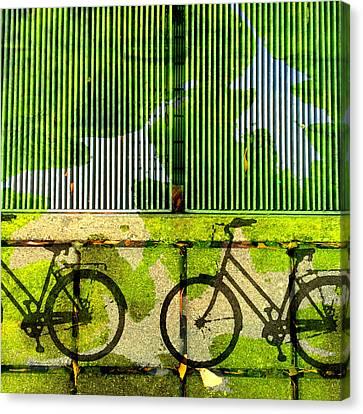 Bicycle Parking Canvas Print by Nancy Merkle