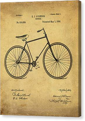 Bicycle Patent 1894 Blue Sepia Canvas Print by Bill Cannon