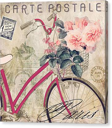 Bicycling In Paris II Canvas Print by Mindy Sommers