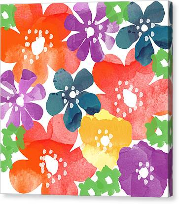 Big Bright Flowers Canvas Print by Linda Woods