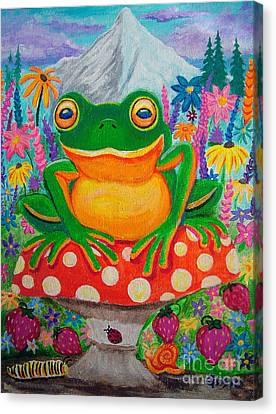 Big Green Frog On Red Mushroom Canvas Print by Nick Gustafson