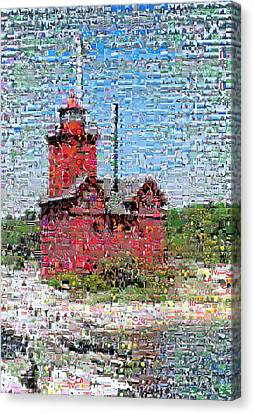 Big Red Photomosaic Canvas Print by Michelle Calkins