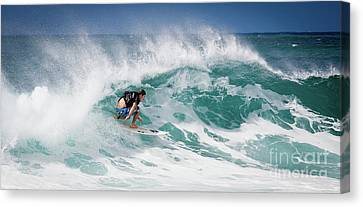 Big Wave Surfer At La Perouse Bay Maui Canvas Print by Denis Dore