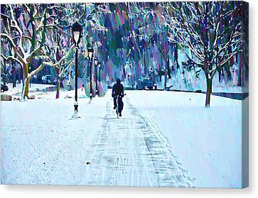 Bike Riding In The Snow Canvas Print by Bill Cannon