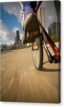 Biking Chicagos Lakefront Canvas Print by Steve Gadomski